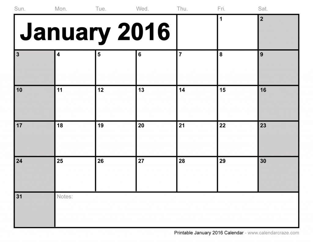 DOWNLOAD PDF January 2016 Printable Calendar in DOC, Excel Sheet