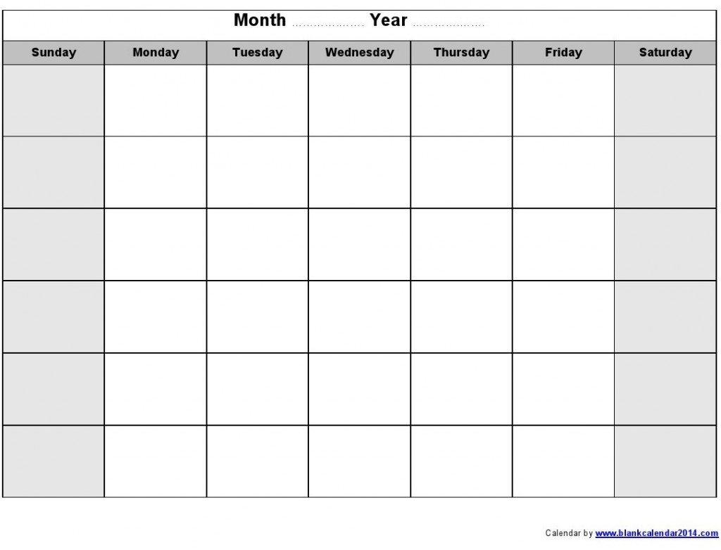 Empty Monthly Calendar Template : Get the best free calendar templates online print blank
