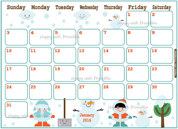new January 2016 Printable Calendar in DOC, Excel Sheet