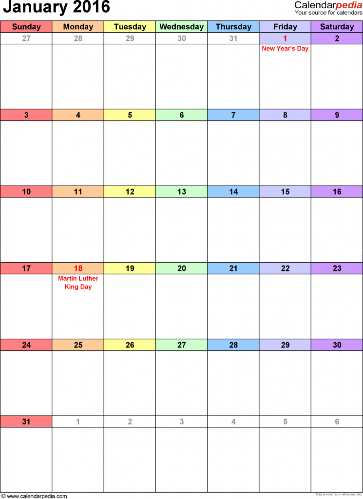 portrait January 2016 Printable Calendar in DOC, Excel Sheet
