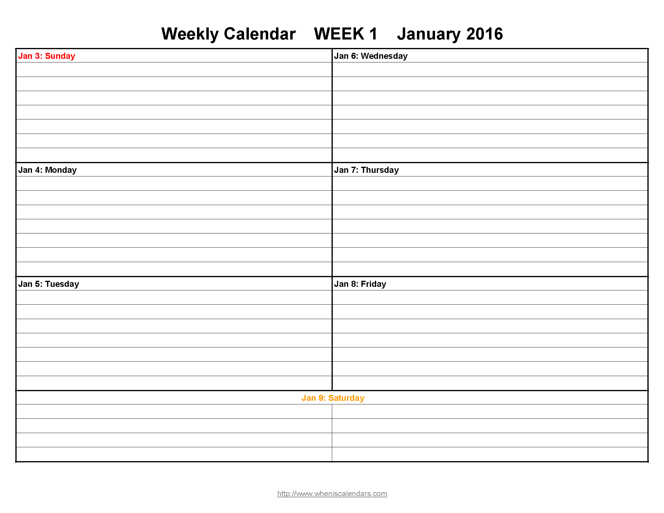Blank Calendar By Week : Week printable calendar template sample