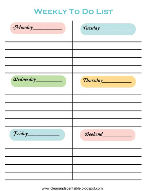 weekly sample color 2016 Weekly Printable Calendar 2016-To-Do-List