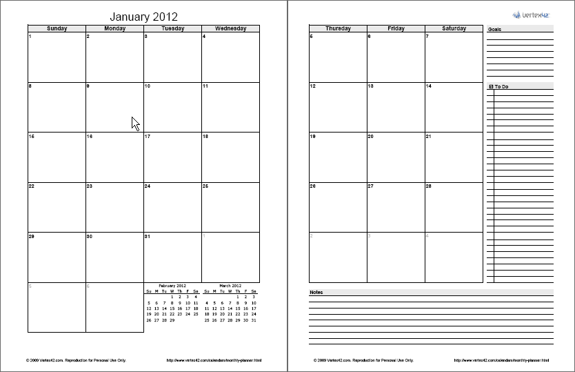 2-page-free monthly calendar templates