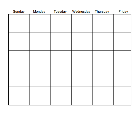 download blank calendar template in pdf