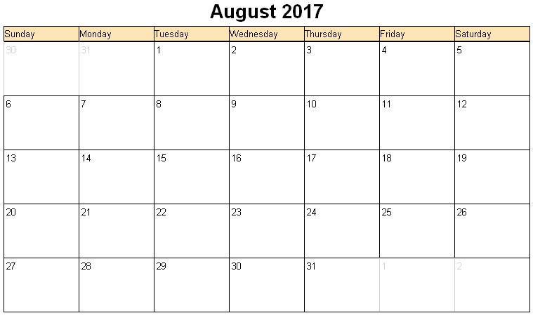 Large Printable Aug Calendars | Print Blank Calendars