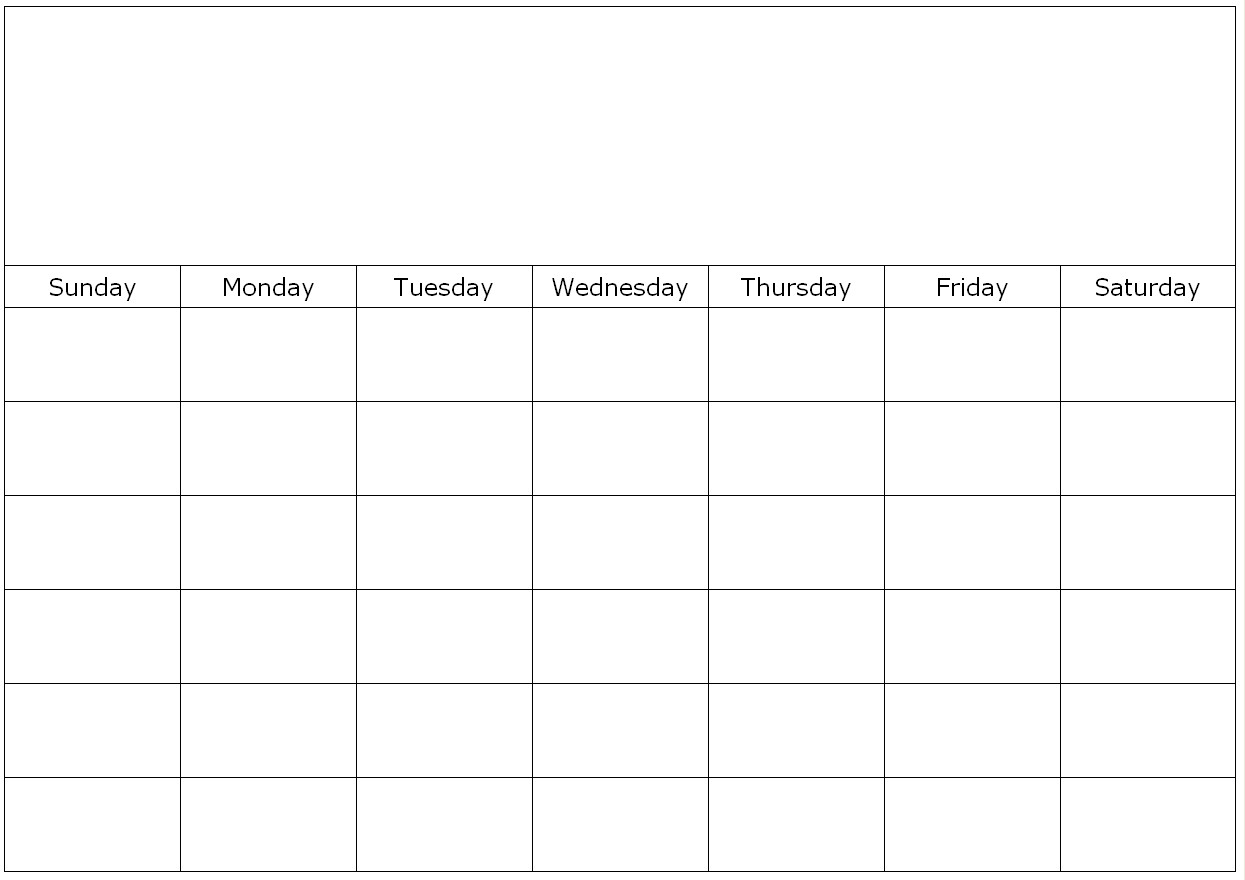 Empty Monthly Calendar Template : One month blank calendar template