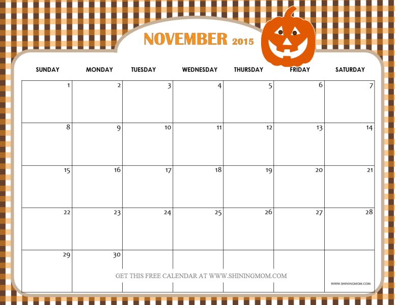 Blank November Calendar For Kids : November thanksgiving calendars print blank
