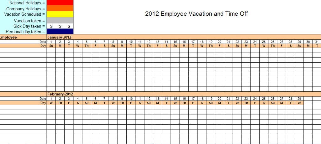 Staff monthly work schedule template