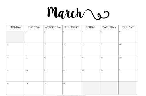 march-holiady-calendar-template