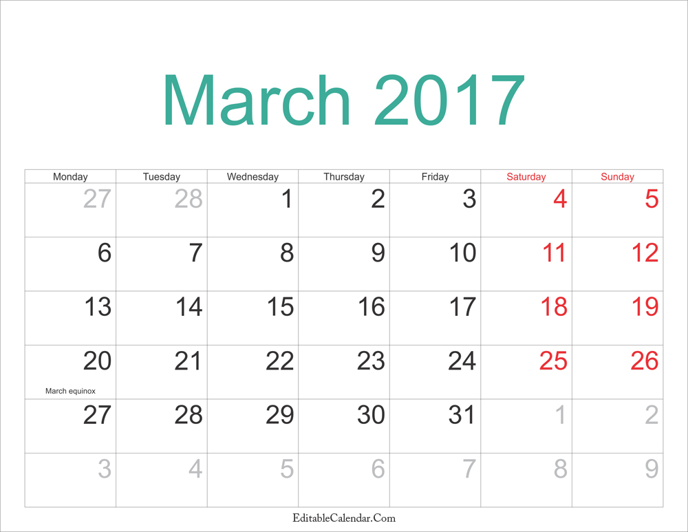 photograph relating to Printable March Calendar Pdf named March Medium PDF Calendar Template Print Blank Calendars