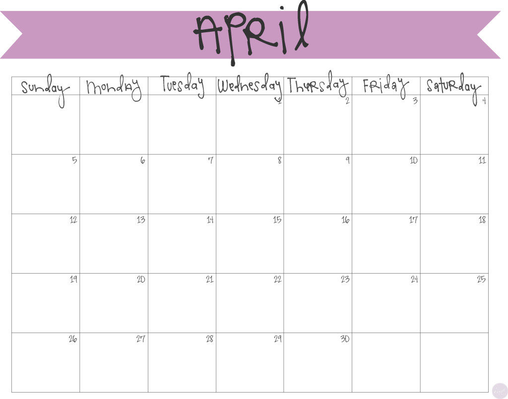 Blank Calendar Of : Printable april calendars print blank